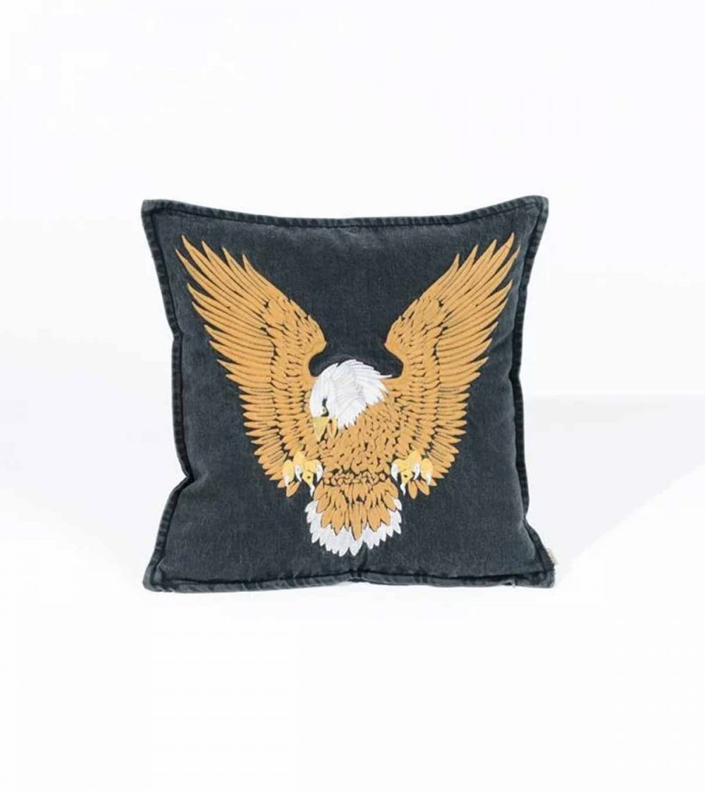 THRILLS-LANDING EAGLE CUSHION COVER - FADED BLACK