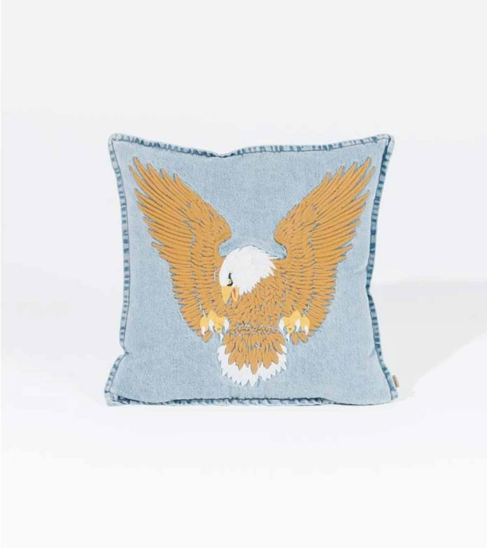 THRILLS-LANDING EAGLE CUSHION COVER - THRIFT BLUE