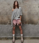 R13-SHREDDED SLOUCH SHORT - FADED PINK