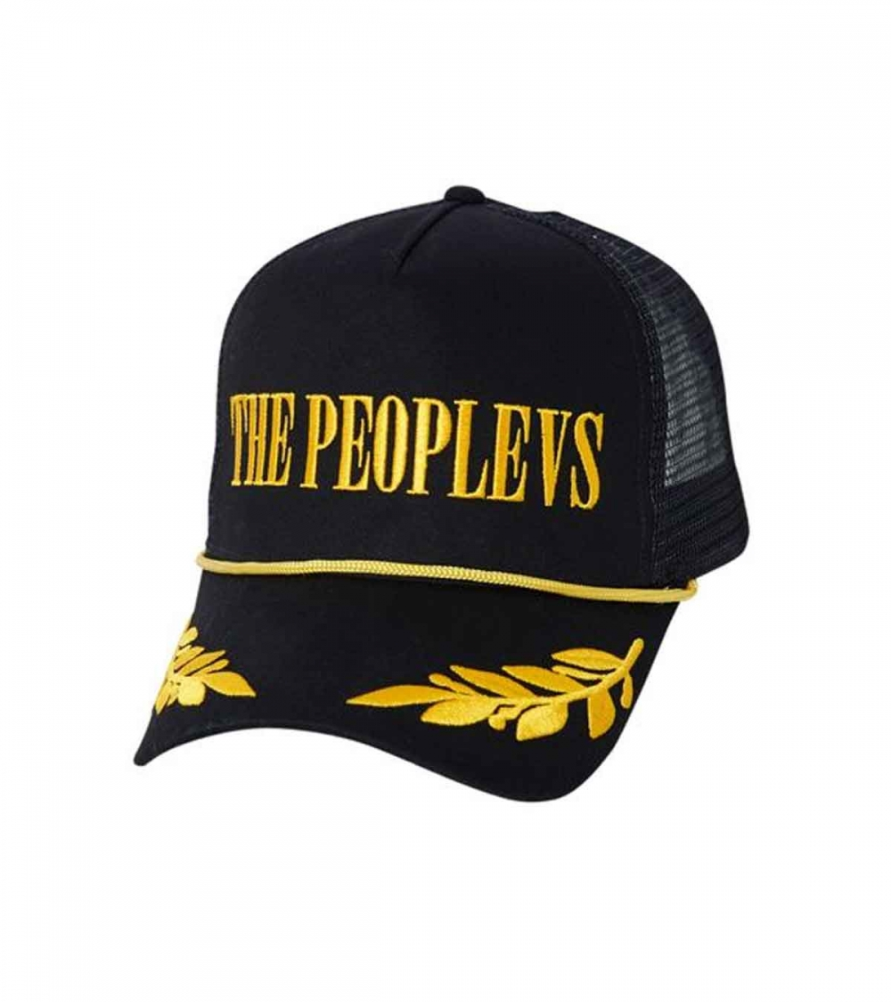 THE PEOPLE VS- SLIVER EMBROIDERED TRUCKER HAT - BLACK/GOLD